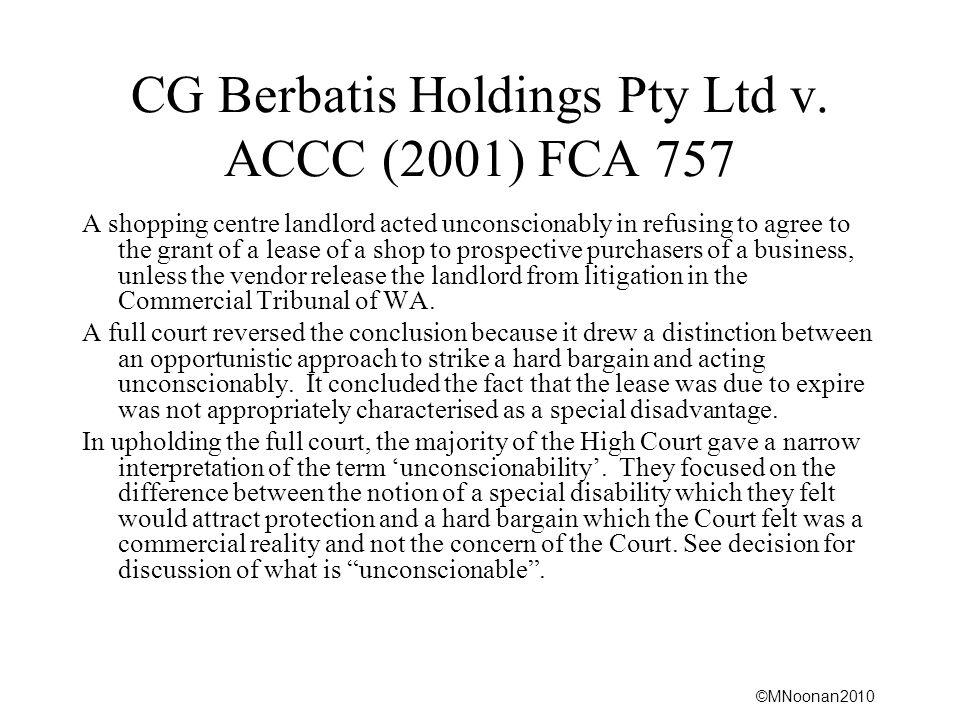 CG Berbatis Holdings Pty Ltd v. ACCC (2001) FCA 757