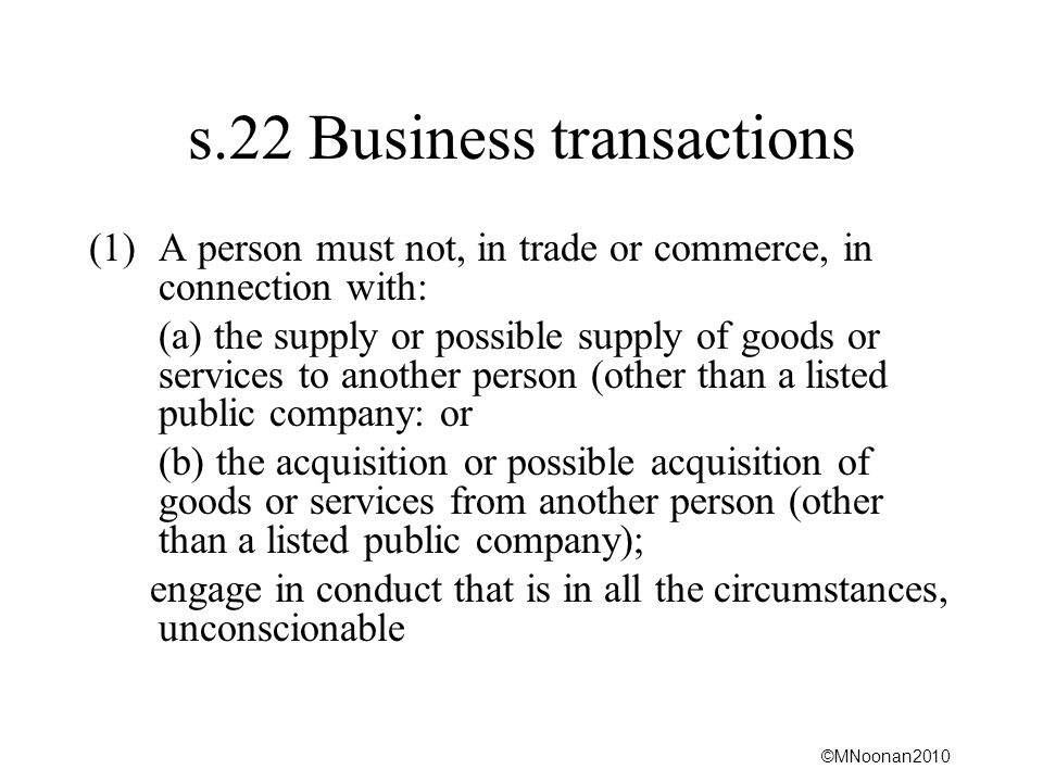 s.22 Business transactions
