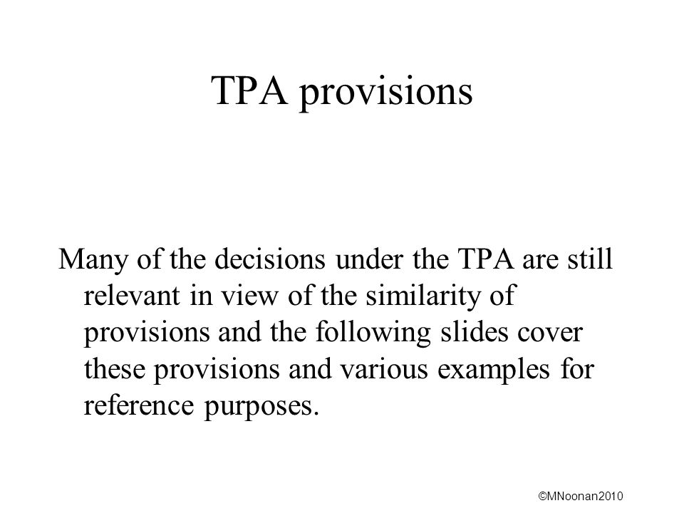 TPA provisions