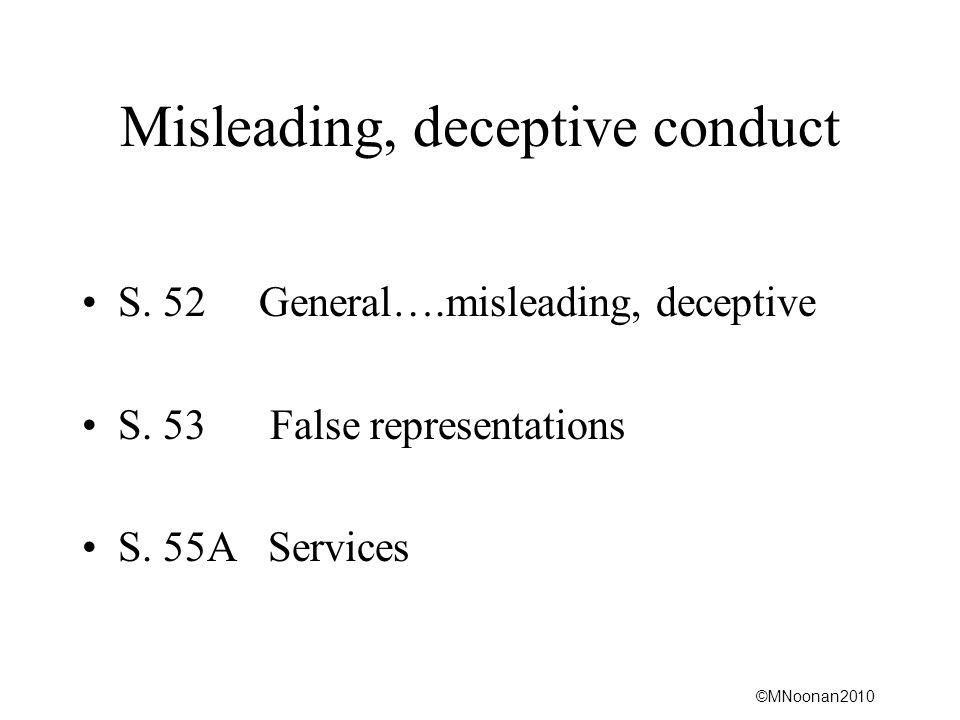 Misleading, deceptive conduct