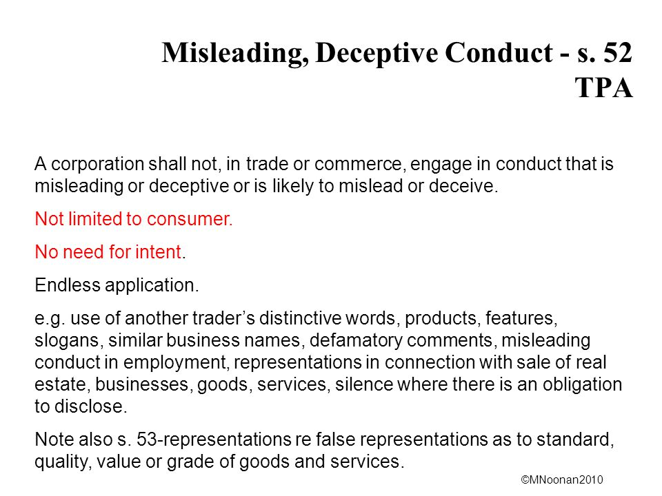 Misleading, Deceptive Conduct - s. 52 TPA