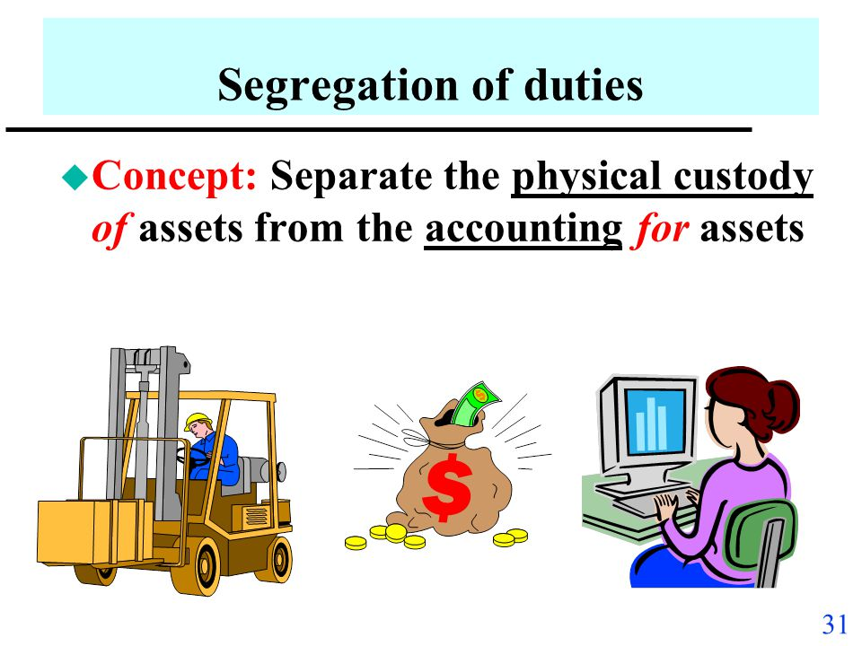 Segregation of duties Concept: Separate the physical custody of assets from the accounting for assets.