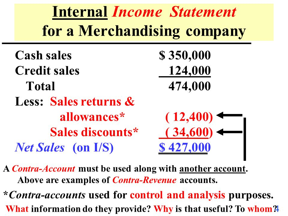 Internal Income Statement for a Merchandising company