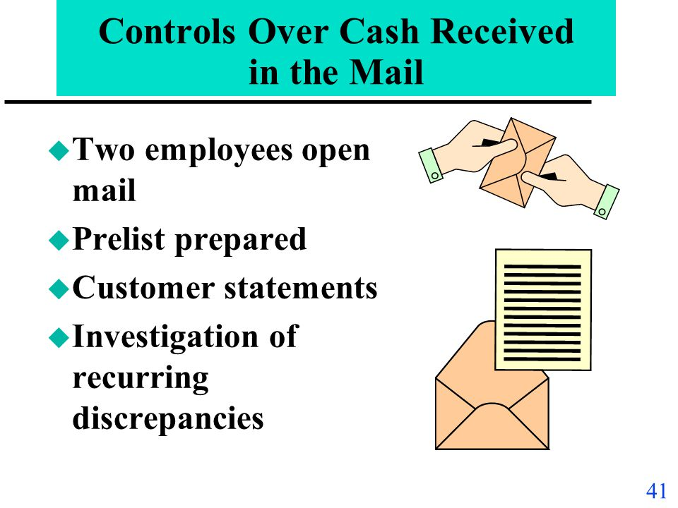 Controls Over Cash Received in the Mail
