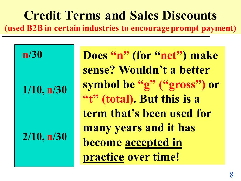 Credit Terms and Sales Discounts (used B2B in certain industries to encourage prompt payment)