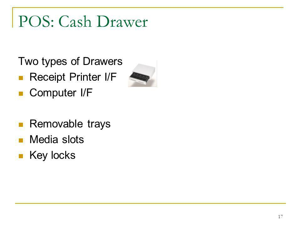 POS: Cash Drawer Two types of Drawers Receipt Printer I/F Computer I/F