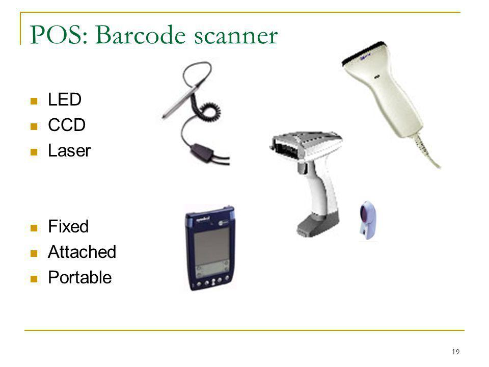 POS: Barcode scanner LED CCD Laser Fixed Attached Portable
