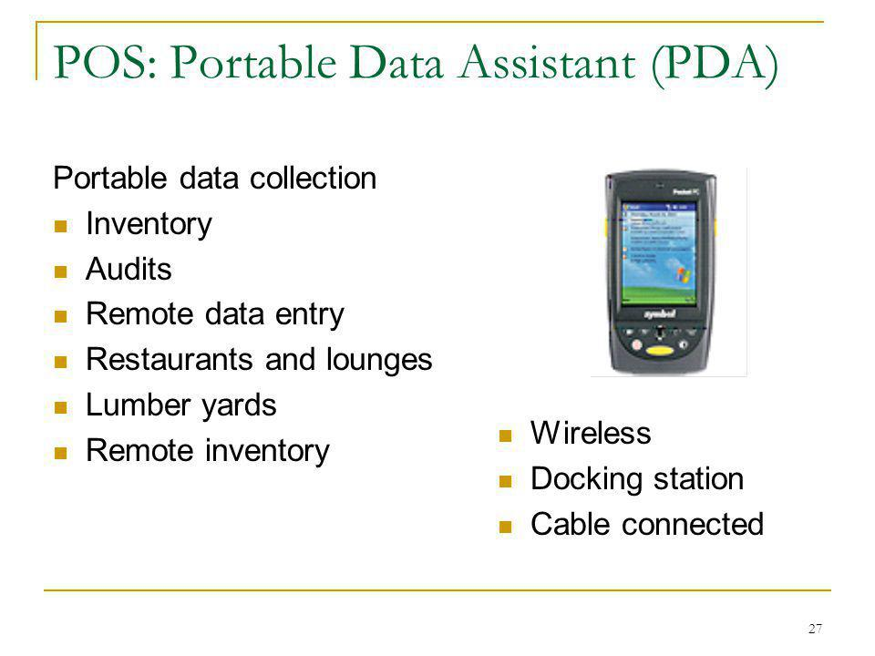 POS: Portable Data Assistant (PDA)
