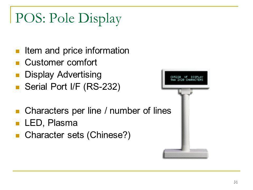 POS: Pole Display Item and price information Customer comfort