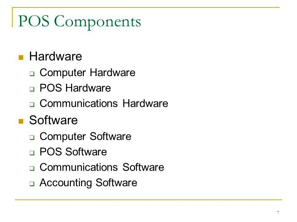 POS Components Hardware Software Computer Hardware POS Hardware