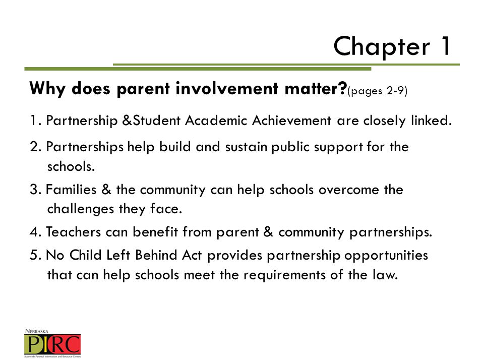 Chapter 1 Why does parent involvement matter (pages 2-9)