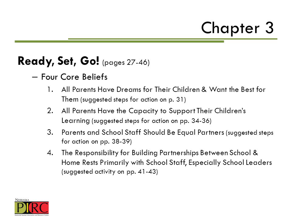 Chapter 3 Ready, Set, Go! (pages 27-46) Four Core Beliefs