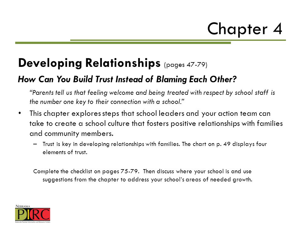 Chapter 4 Developing Relationships (pages 47-79)