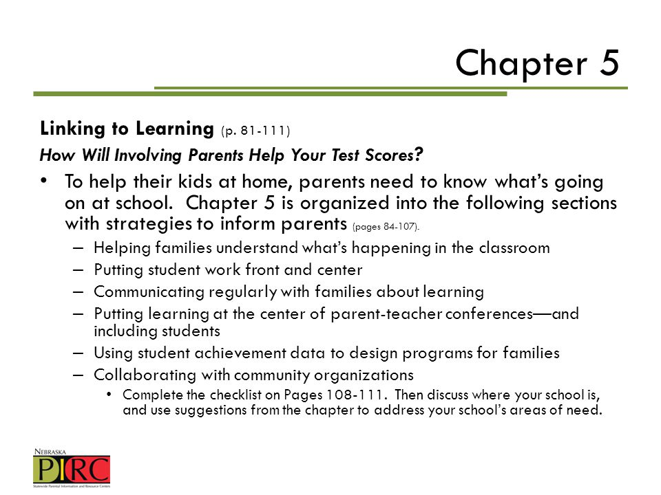 Chapter 5 Linking to Learning (p )
