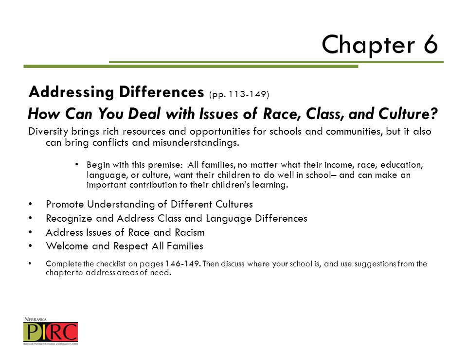 Chapter 6 Addressing Differences (pp )