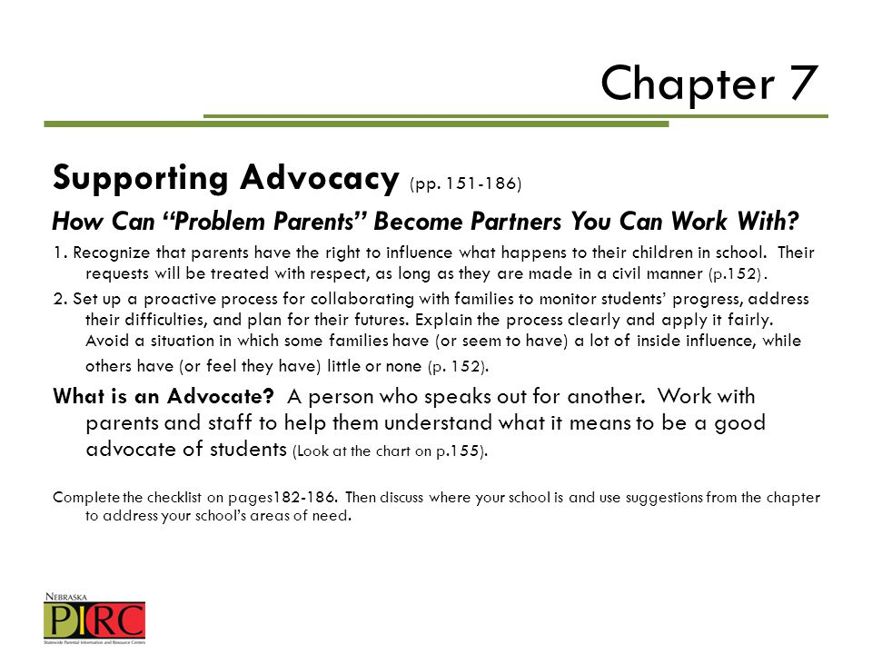 Chapter 7 Supporting Advocacy (pp )
