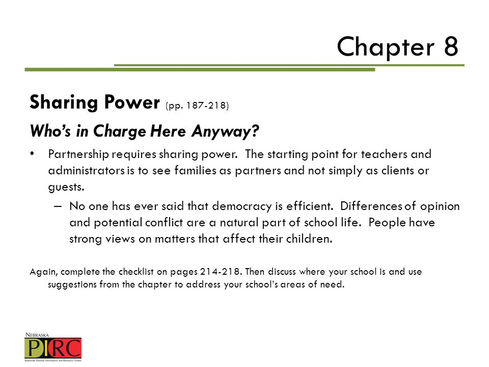 Chapter 8 Sharing Power (pp. 187-218) Who's in Charge Here Anyway
