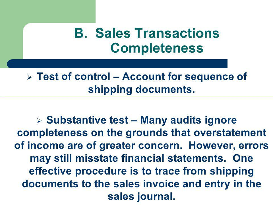 B. Sales Transactions Completeness