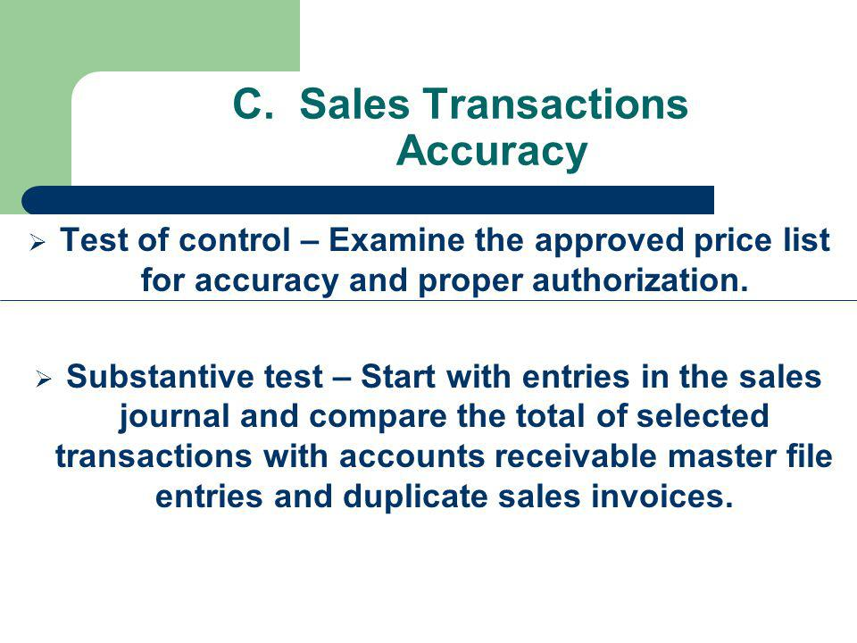 C. Sales Transactions Accuracy