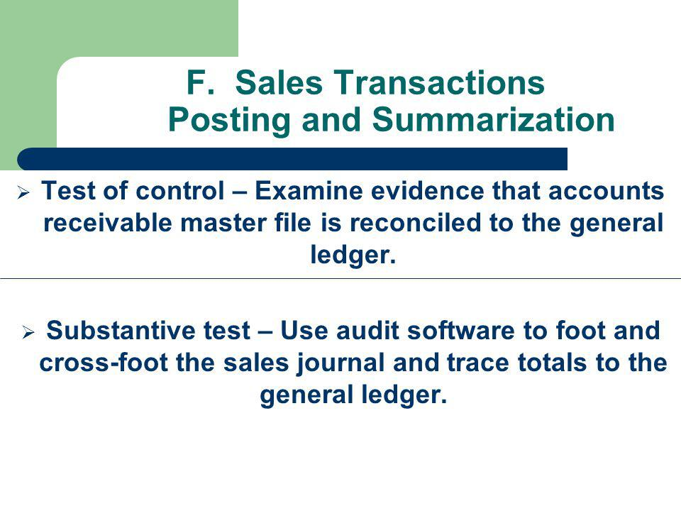 F. Sales Transactions Posting and Summarization