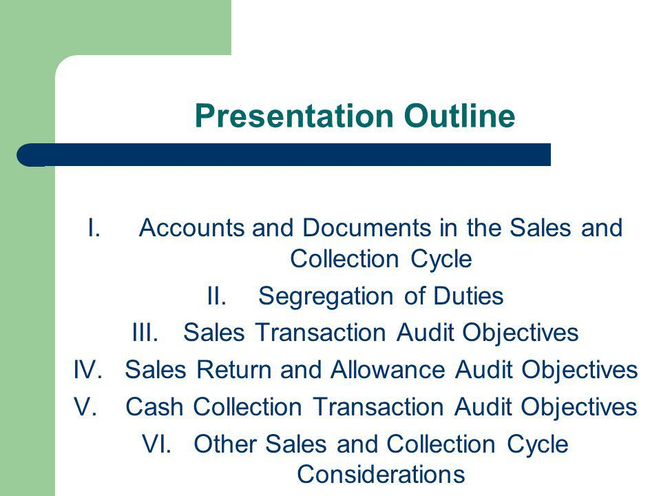 Presentation Outline Accounts and Documents in the Sales and Collection Cycle. Segregation of Duties.