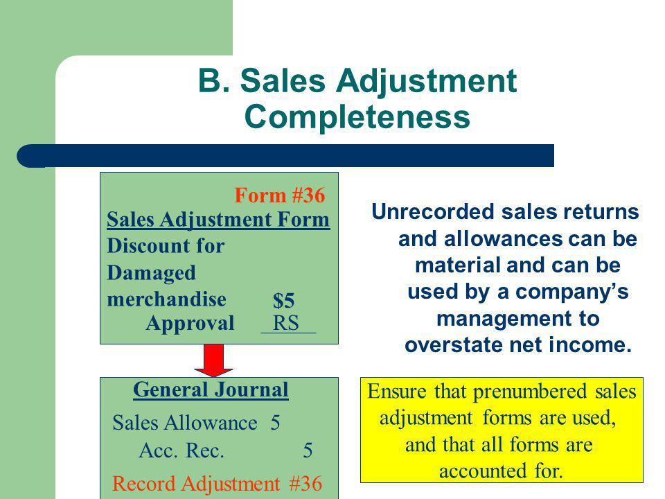 B. Sales Adjustment Completeness