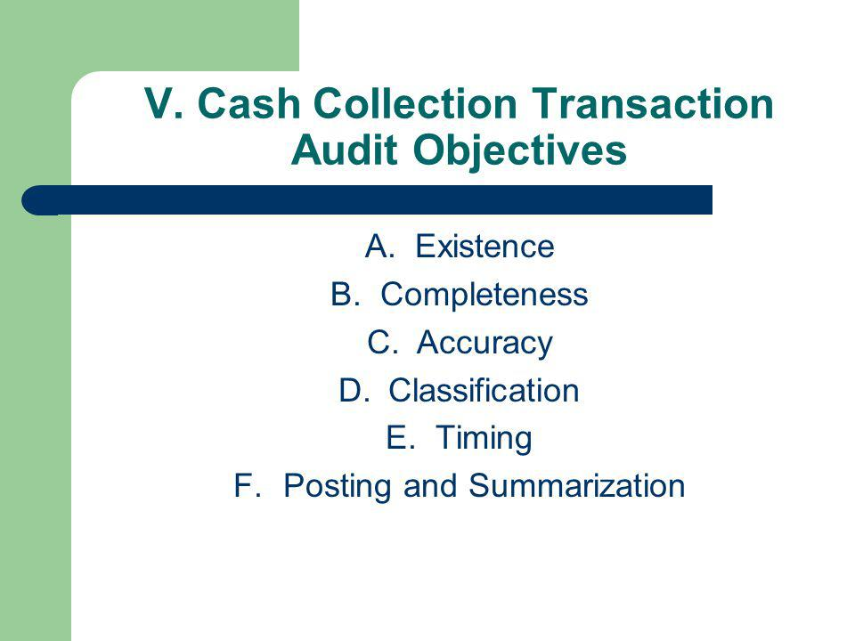 V. Cash Collection Transaction Audit Objectives