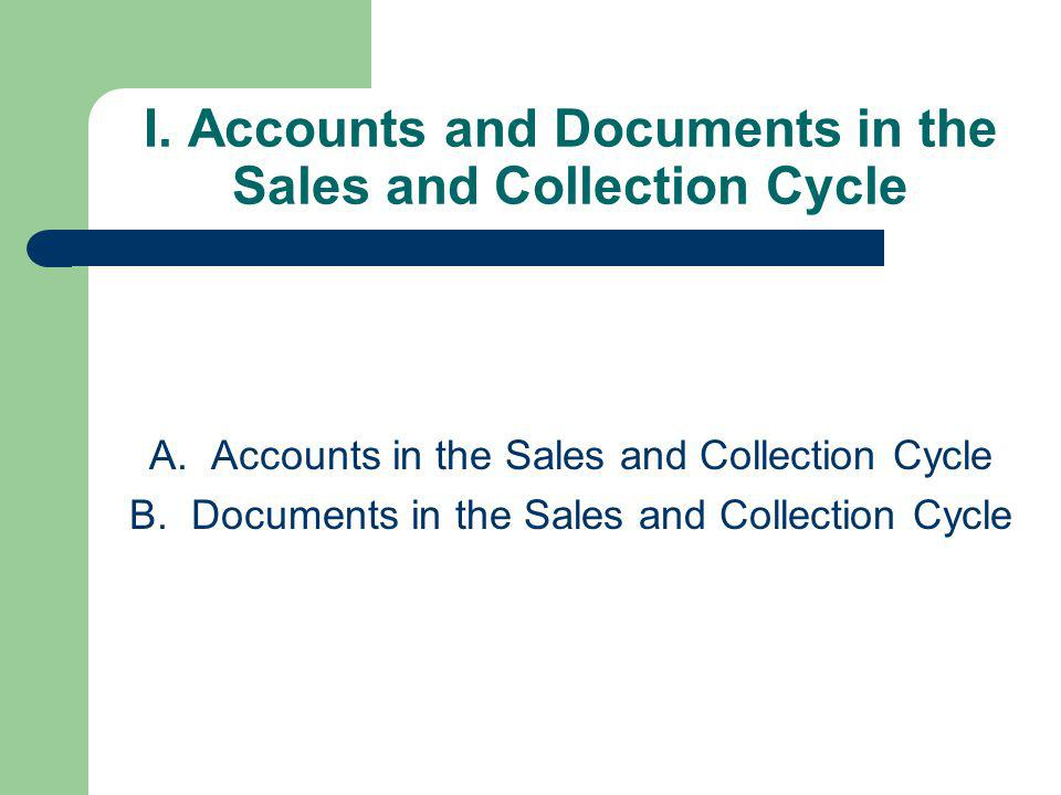 I. Accounts and Documents in the Sales and Collection Cycle