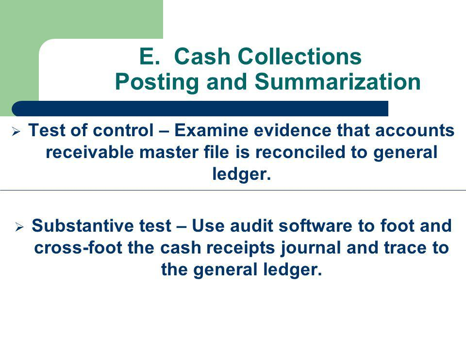 E. Cash Collections Posting and Summarization