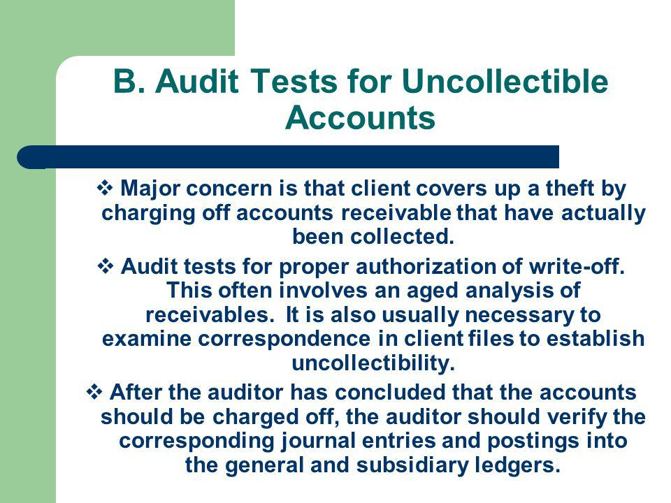 B. Audit Tests for Uncollectible Accounts