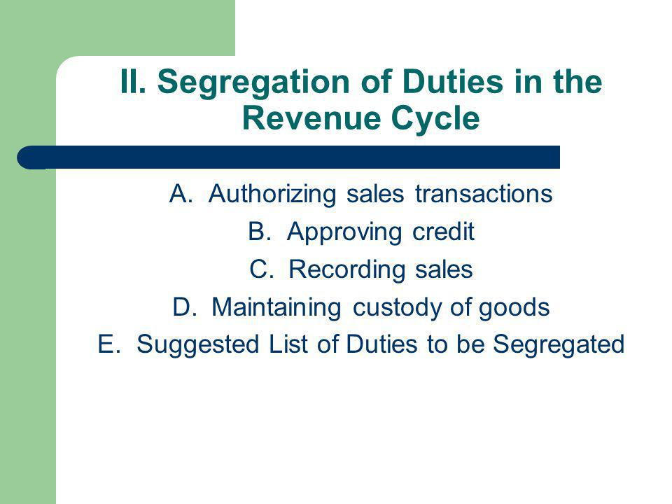II. Segregation of Duties in the Revenue Cycle