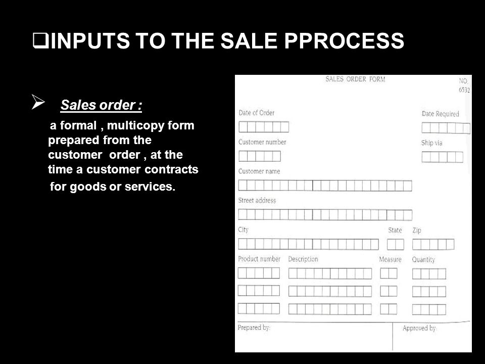 INPUTS TO THE SALE PPROCESS