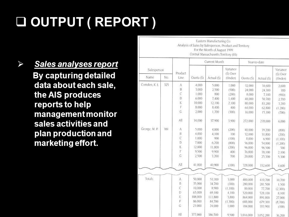 OUTPUT ( REPORT ) Sales analyses report