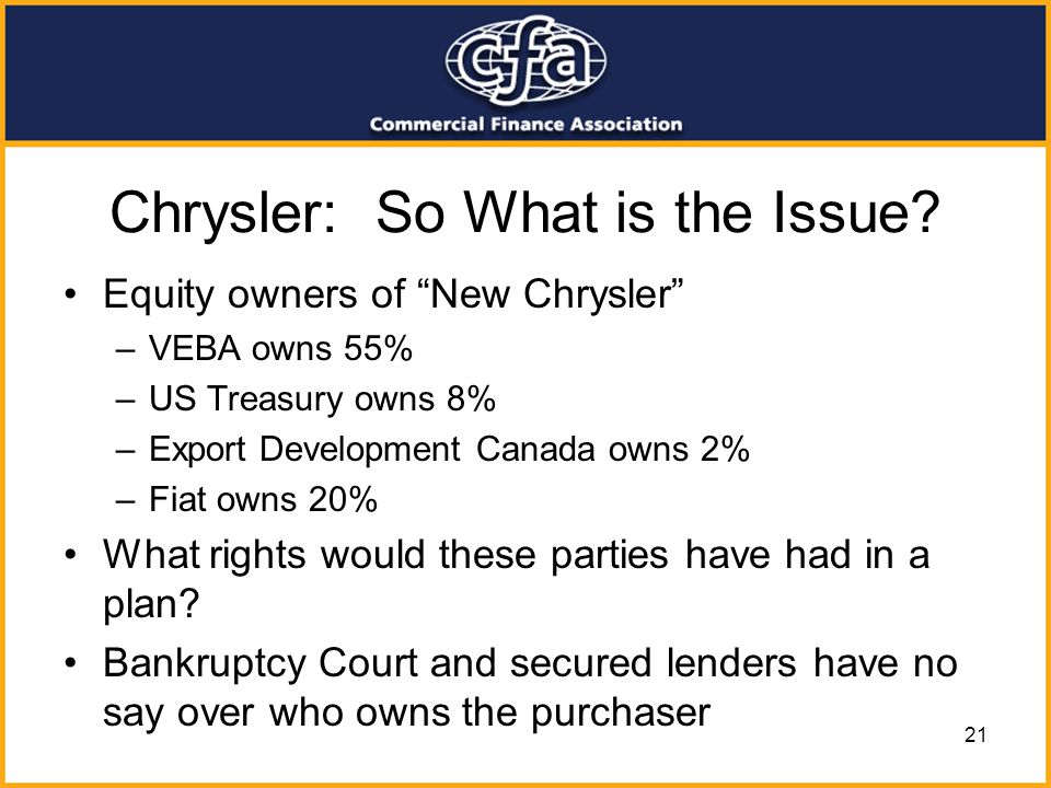 Chrysler: So What is the Issue