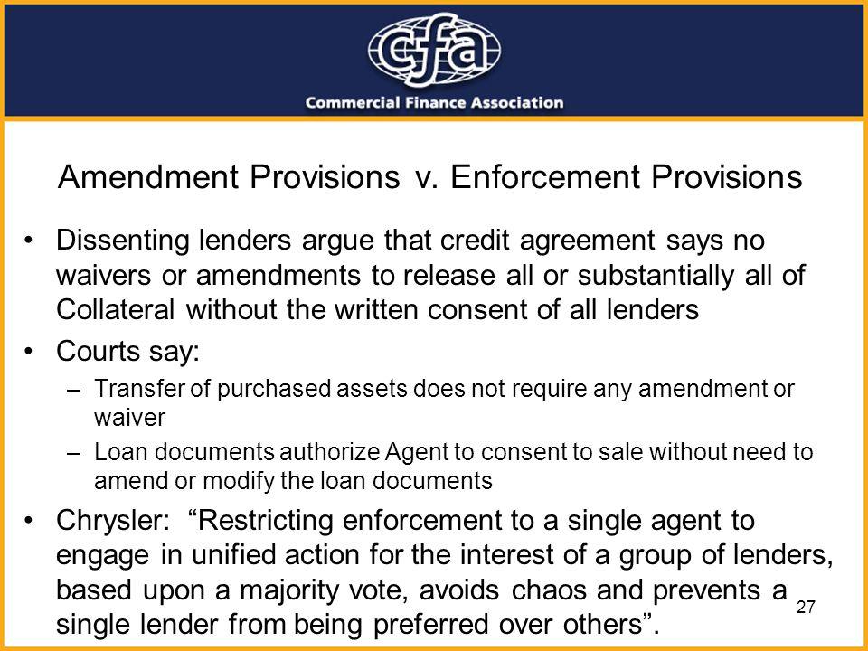 Amendment Provisions v. Enforcement Provisions