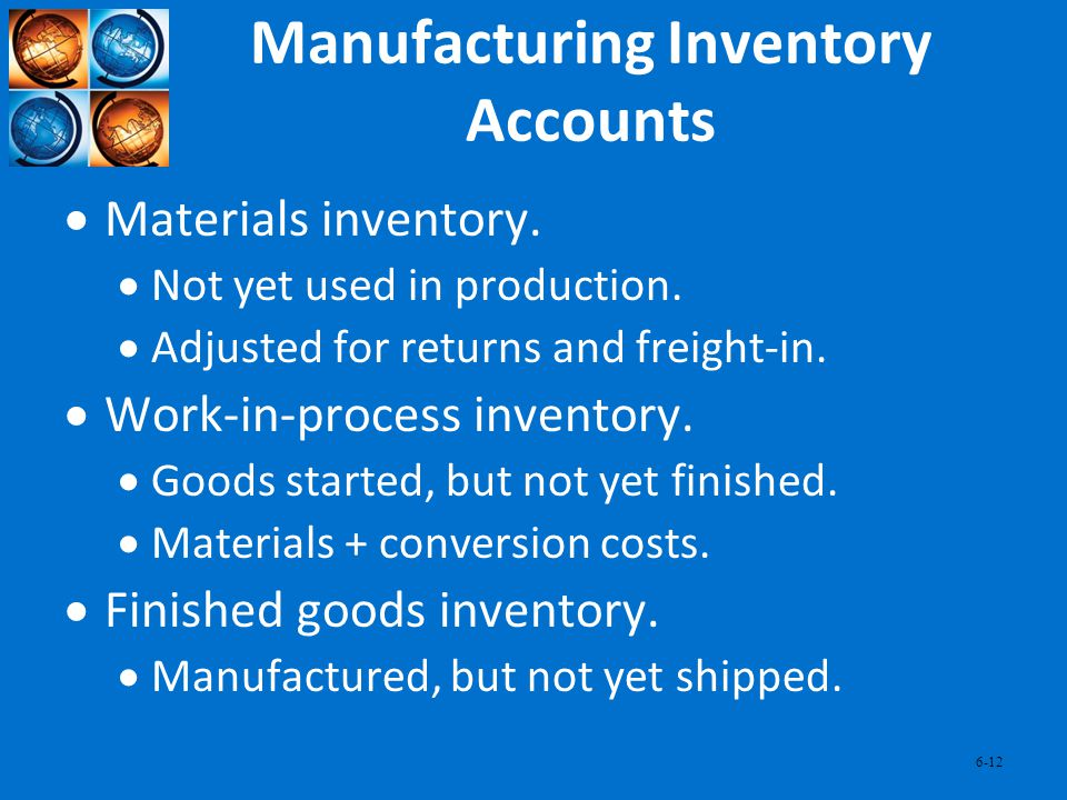 Manufacturing Inventory Accounts