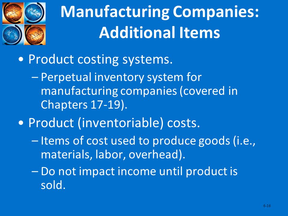 Manufacturing Companies: Additional Items