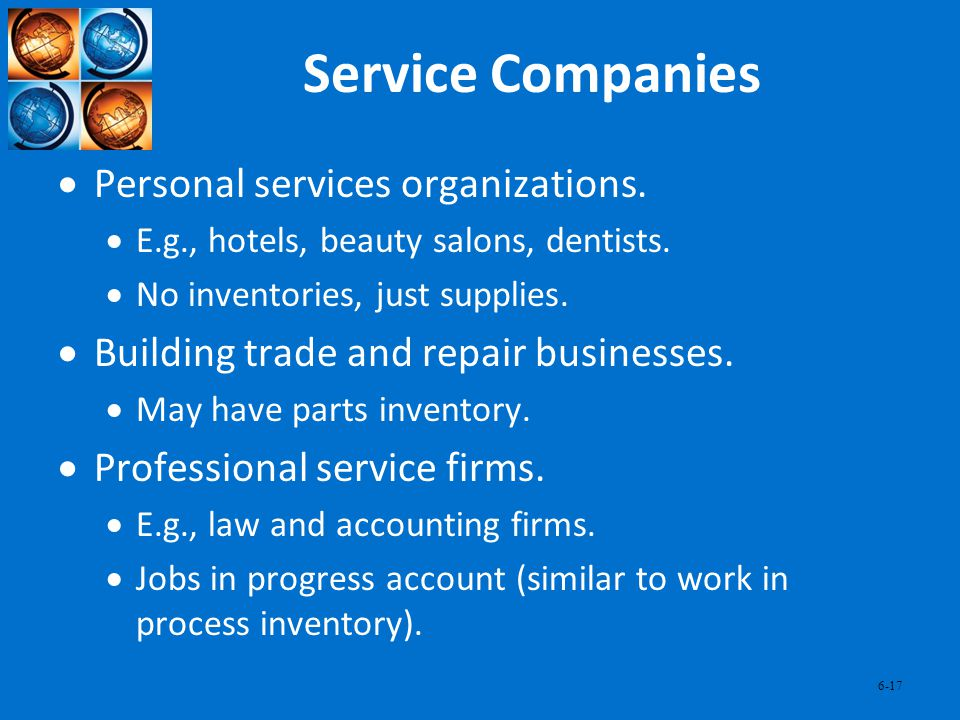 Service Companies Personal services organizations.