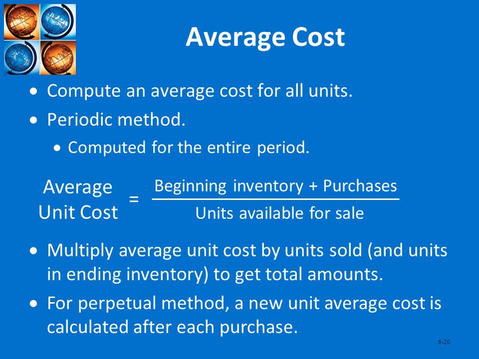 Average Cost Average Unit Cost =