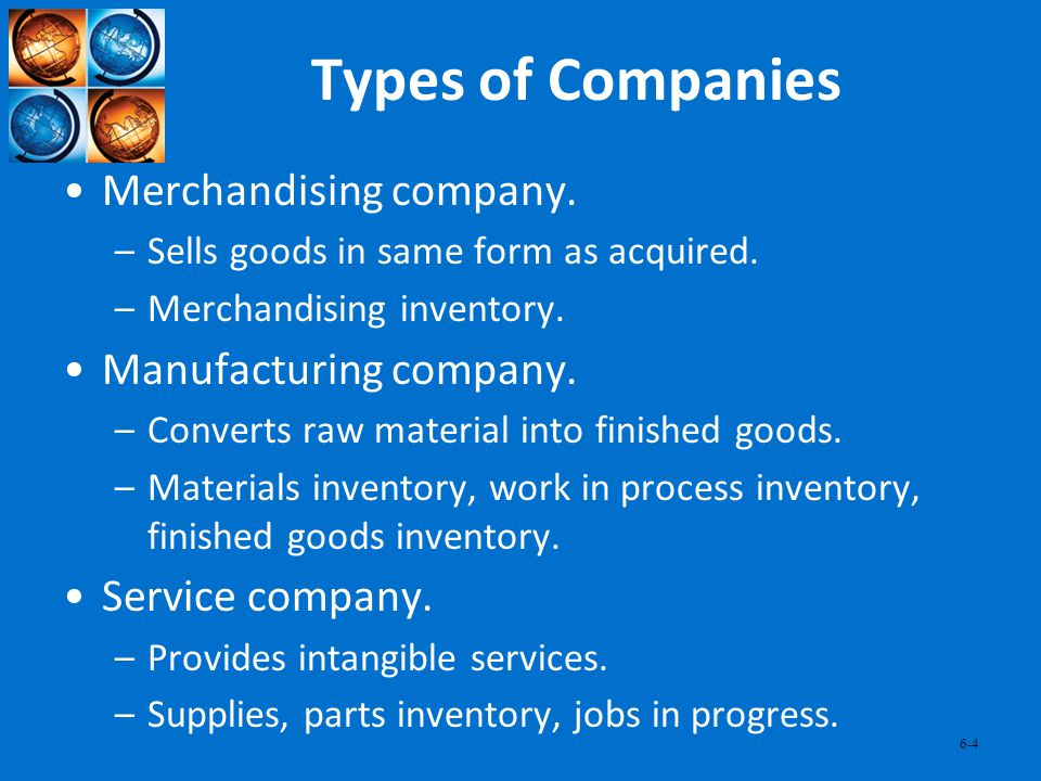 Types of Companies Merchandising company. Manufacturing company.
