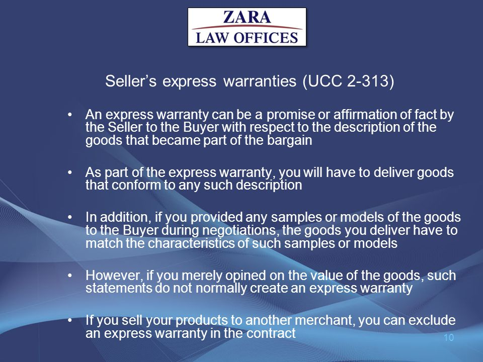 Seller's express warranties (UCC 2-313)