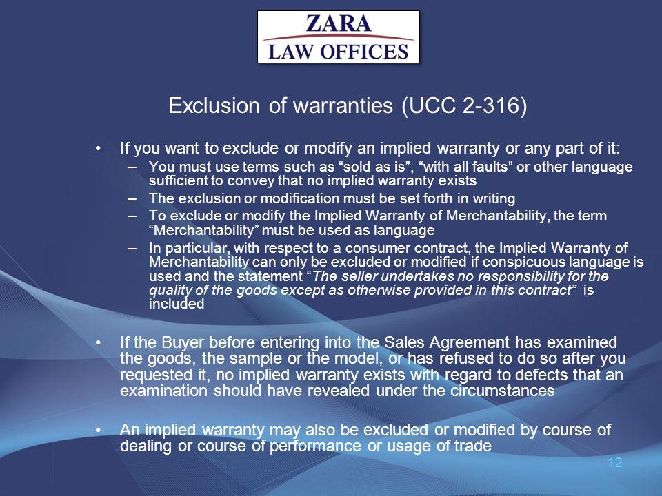 Exclusion of warranties (UCC 2-316)