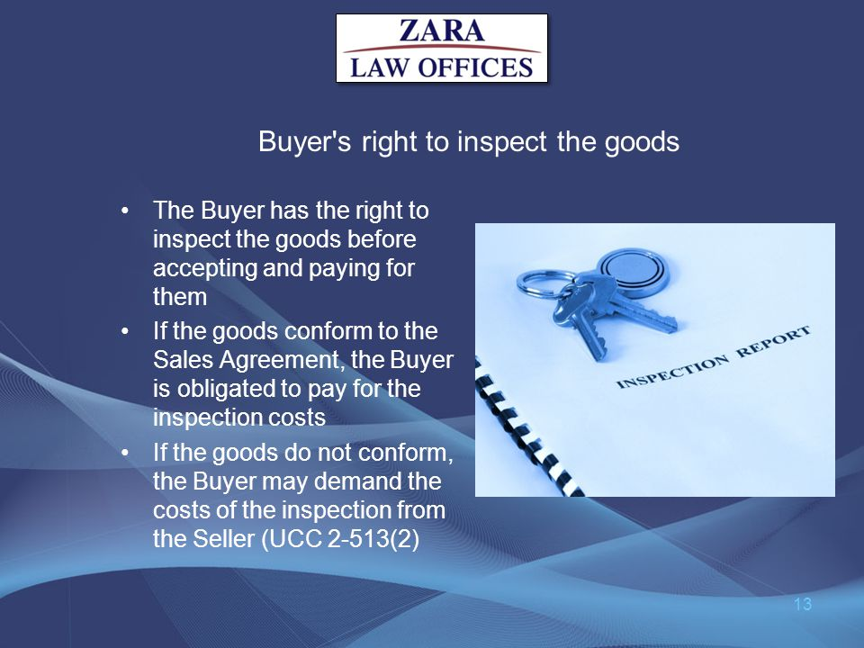 Buyer s right to inspect the goods