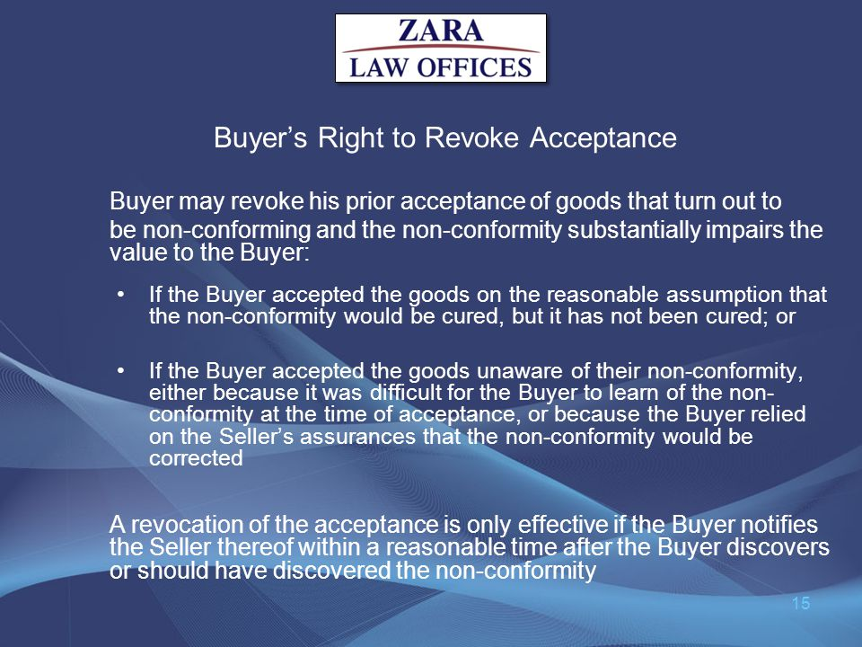 Buyer's Right to Revoke Acceptance