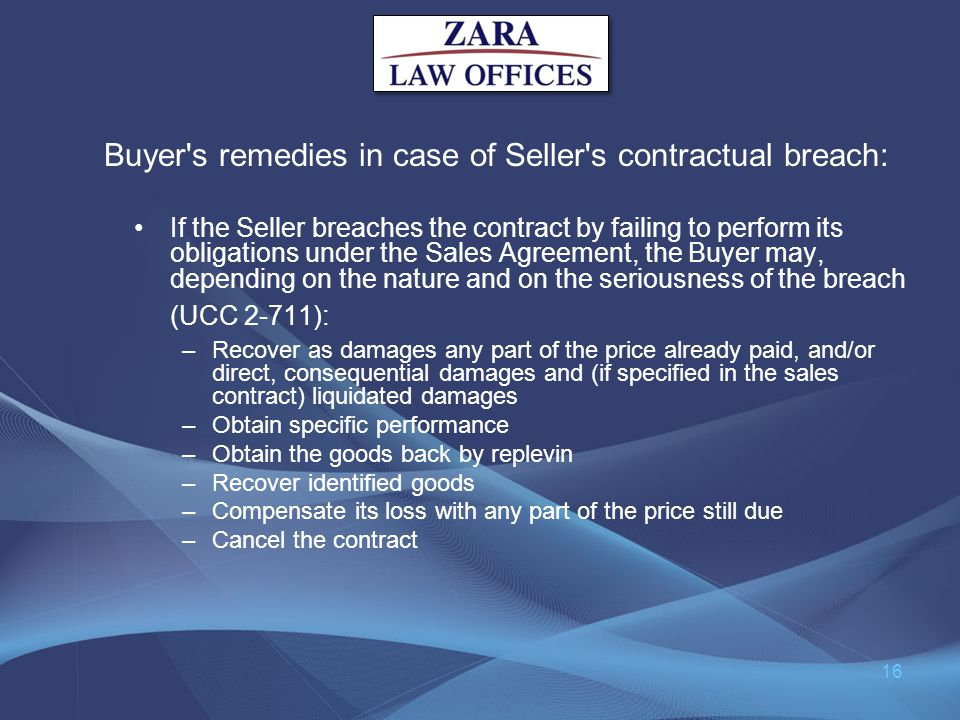 Buyer s remedies in case of Seller s contractual breach: