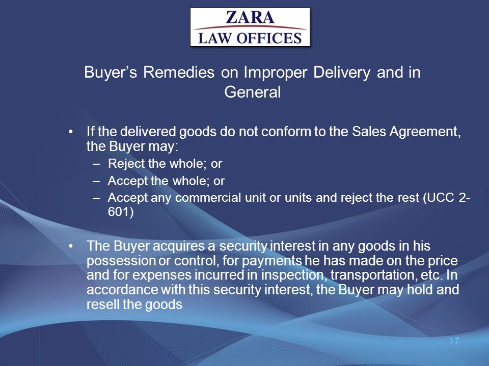 Buyer's Remedies on Improper Delivery and in General