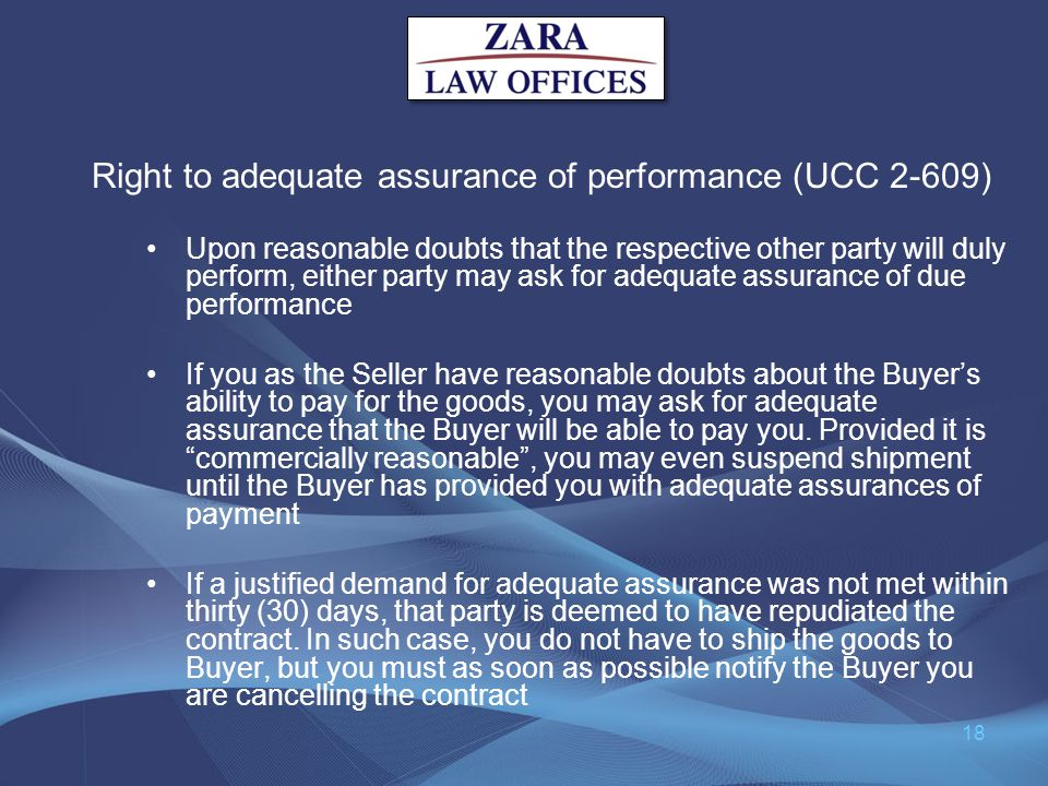 Right to adequate assurance of performance (UCC 2-609)