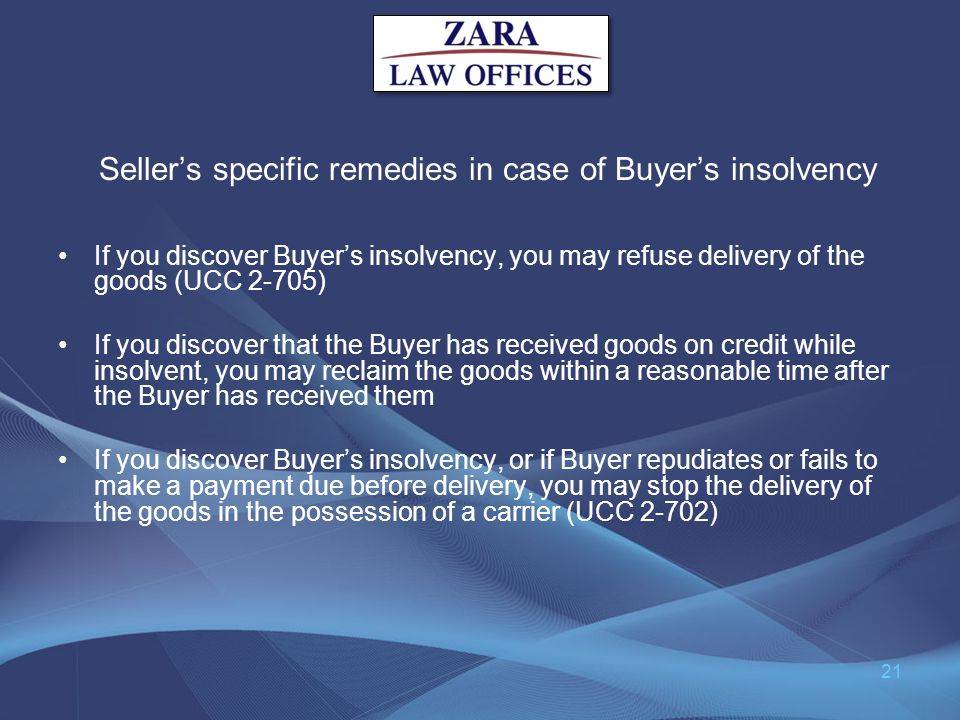 Seller's specific remedies in case of Buyer's insolvency