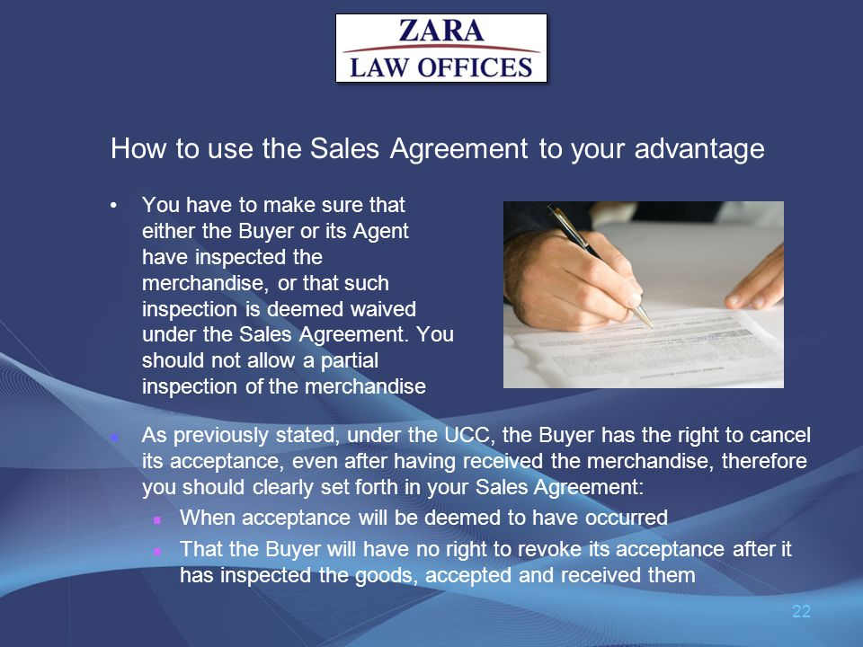 How to use the Sales Agreement to your advantage