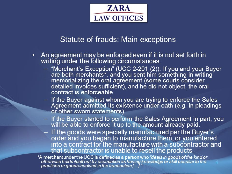 Statute of frauds: Main exceptions